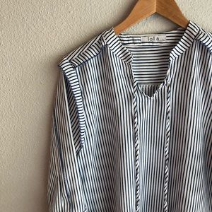 Lola Blue + White Striped Top